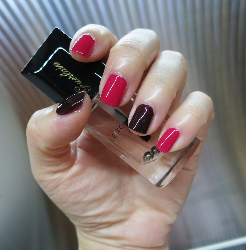 Guerlain Le Vernis vega & champs elysee with gel top coat swatch