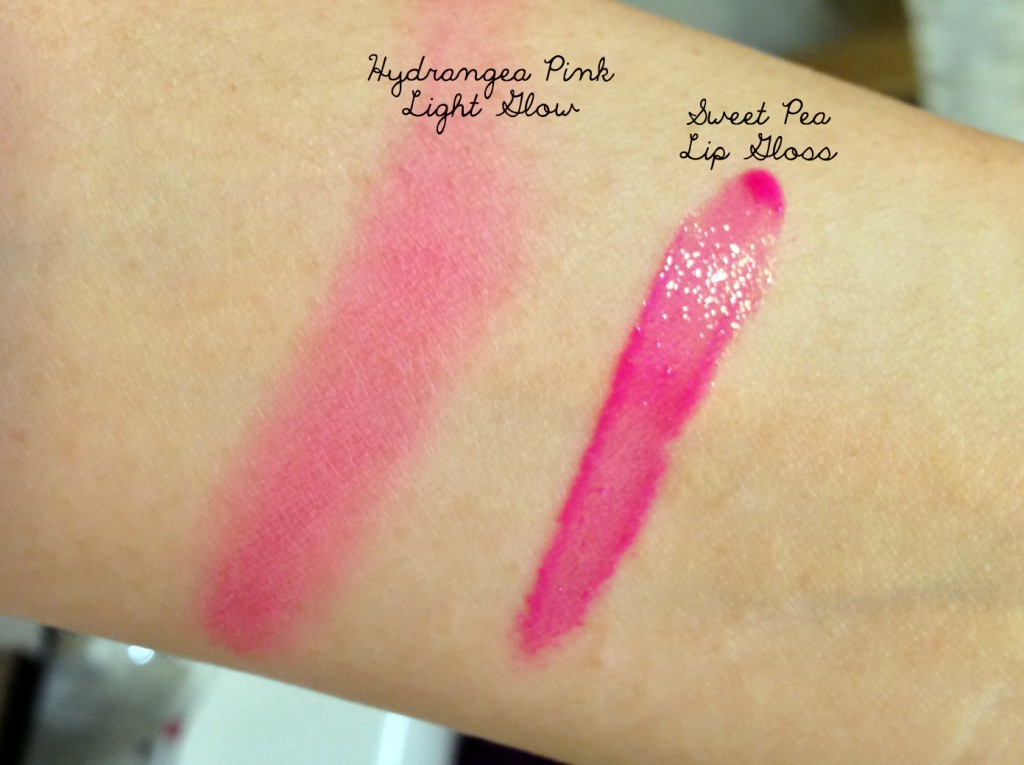 Burberry Hydrangea Pink and Sweet Pea swatches