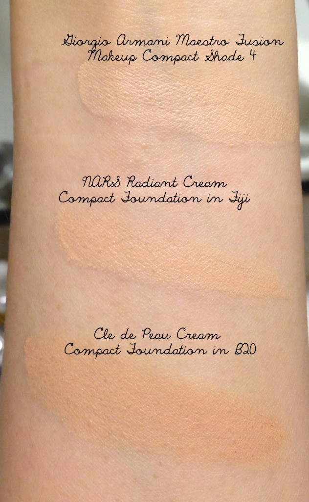 Cream compact foundation swatch comparison