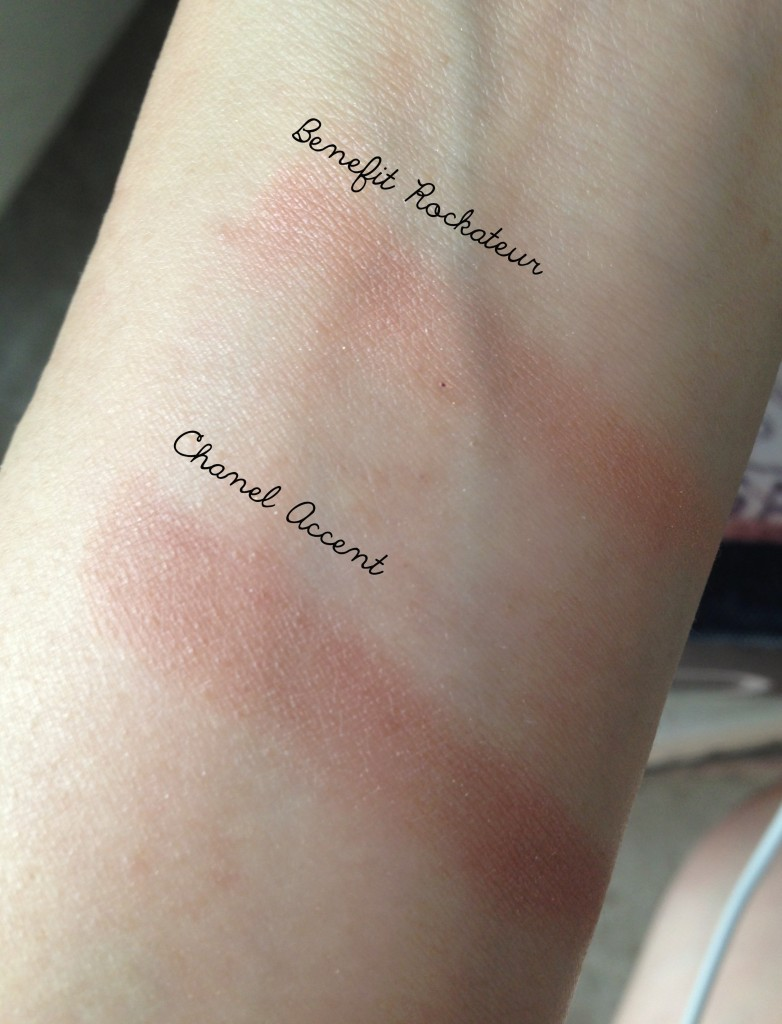 Benefit Rockateur vs Chanel accent swatches