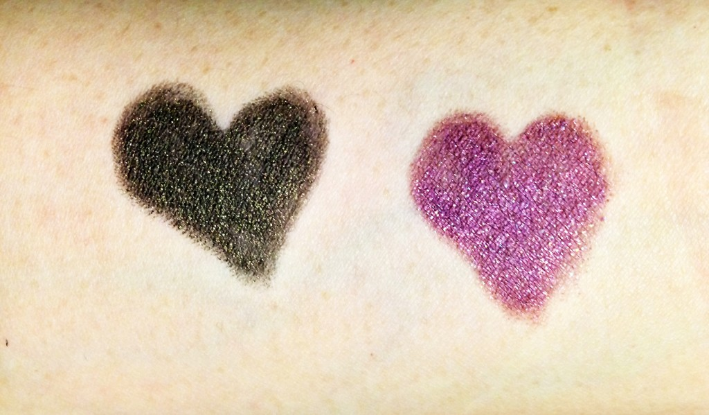 Charlotte Tilbury Colour Chameleon Eyeshadow Pencils in Amethyst Aphrodisiac and Smoky Emerald swatches