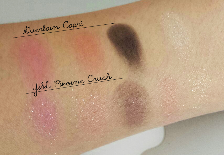 YSL Pivoine Crush vs Guerlain Capri swatch comparison