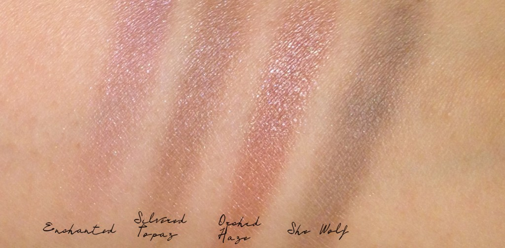 Tom Ford Silvered Topaz mauve swatch comparison with Orchid Haze & She Wolf