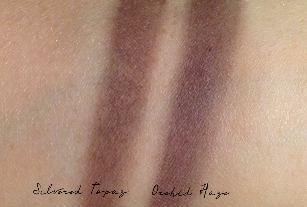 Tom Ford Silvered Topaz plum swatch comparison with Orchid Haze