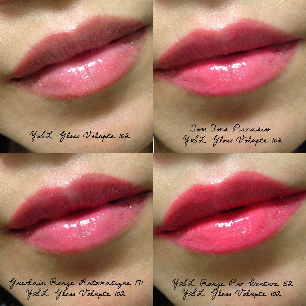 YSL Gloss Volupte 102 swatches