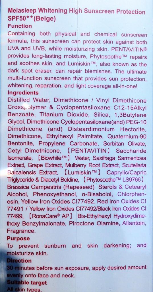 For Beloved One Melasleep High Sunscreen Protection SPF50 Beige ingredient list