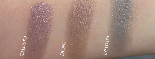 NARS Dual Intensity Eyeshadow swatches under dim light