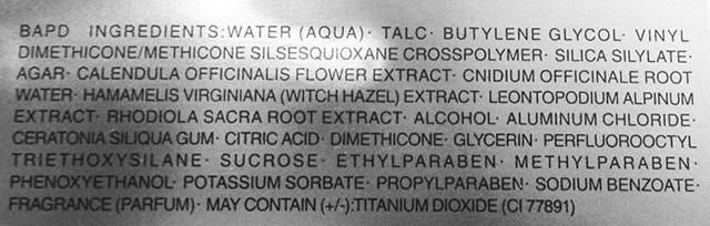 Kose Infinity Cool Face Powder ingredient list