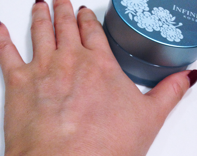 Kose Infinity Cool Face Powder swatch blended